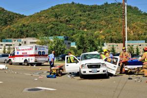 Bad Car Crash With Paramedics On Scene